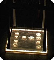 Eavesdripping prototype - acrylic basin lit by 26 LEDs