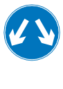 Road sign with arrows pointing down-left and down-right